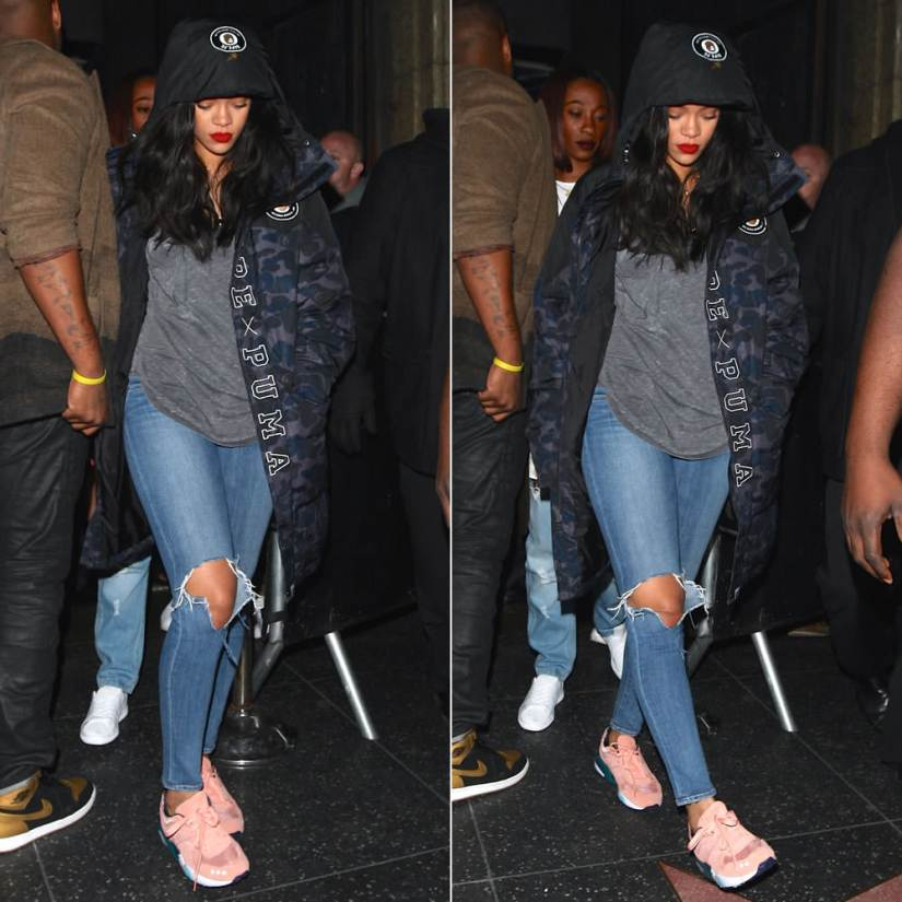 Rihanna Puma BAPE black camo hooded jacket, Puma x ALIFE R698 pink sneakers