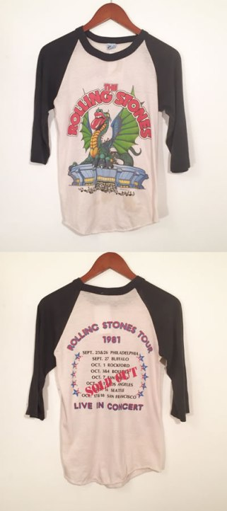 The Rolling Stones vintage 1981 tour raglan top with dragon tongue graphic as seen on Rihanna
