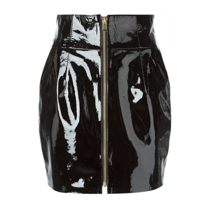 Alexandre Vauthier varnished leather mini skirt as seen on Rihanna