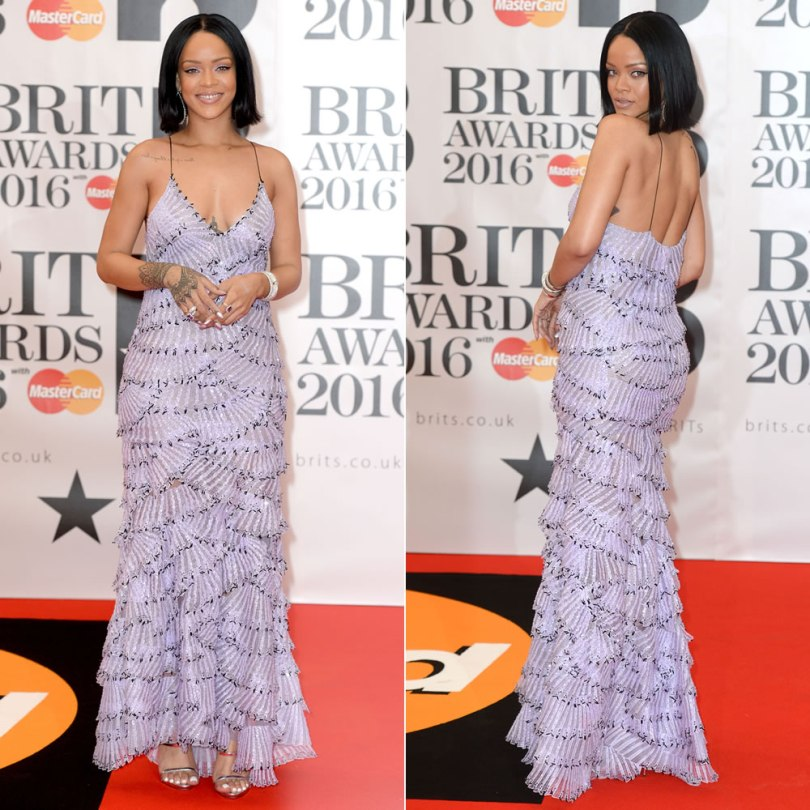 Rihanna Brit Awards 2016 Armani Prive Spring 2016 couture purple dress, Giuseppe Zanotti Coline silver sandals, Asprey amethyst rings, Jack Vartanian earrings, Casa Reale cuff bracelets