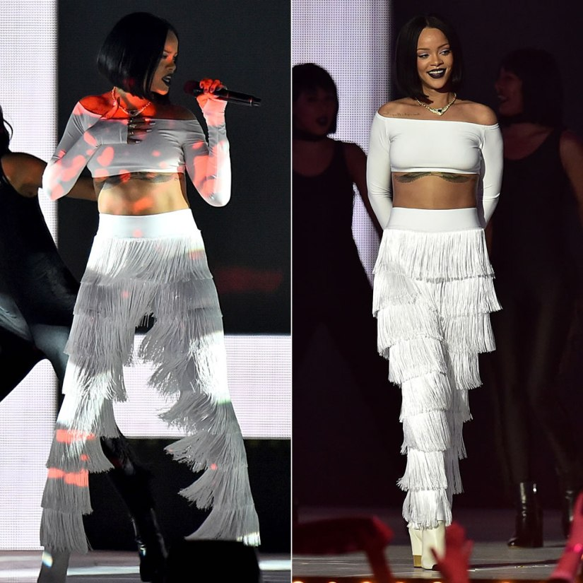 Rihanna performing at 2016 Brith Awards in white Norma Kamali long sleeve crop top and fringe pants, Giuseppe Zanotti white Ester ankle boots