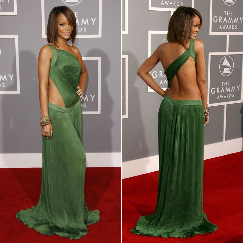 Rihanna Grammy Awards 2007 Roberto Cavalli pleated green dress