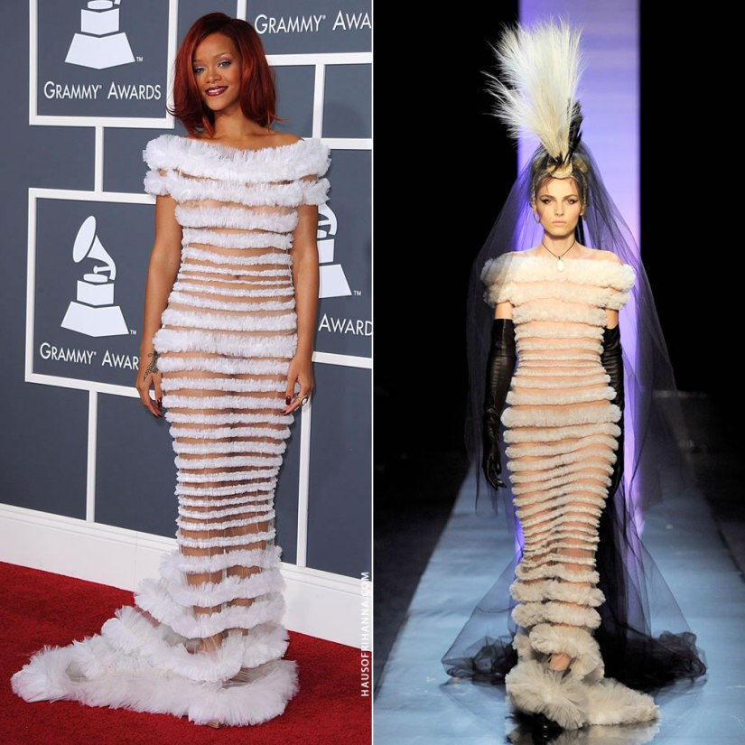 Rihanan Grammy Awards 2011 Jean Paul Gaultier Spring 2011 couture white sheer dress
