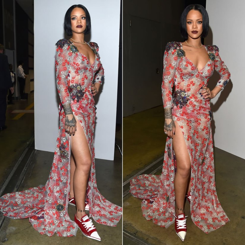 Rihanna Marc Jacobs daisy embroidery dress and pointed-toe sneakers Spring 2016 at MusiCares Person of the Year 2016