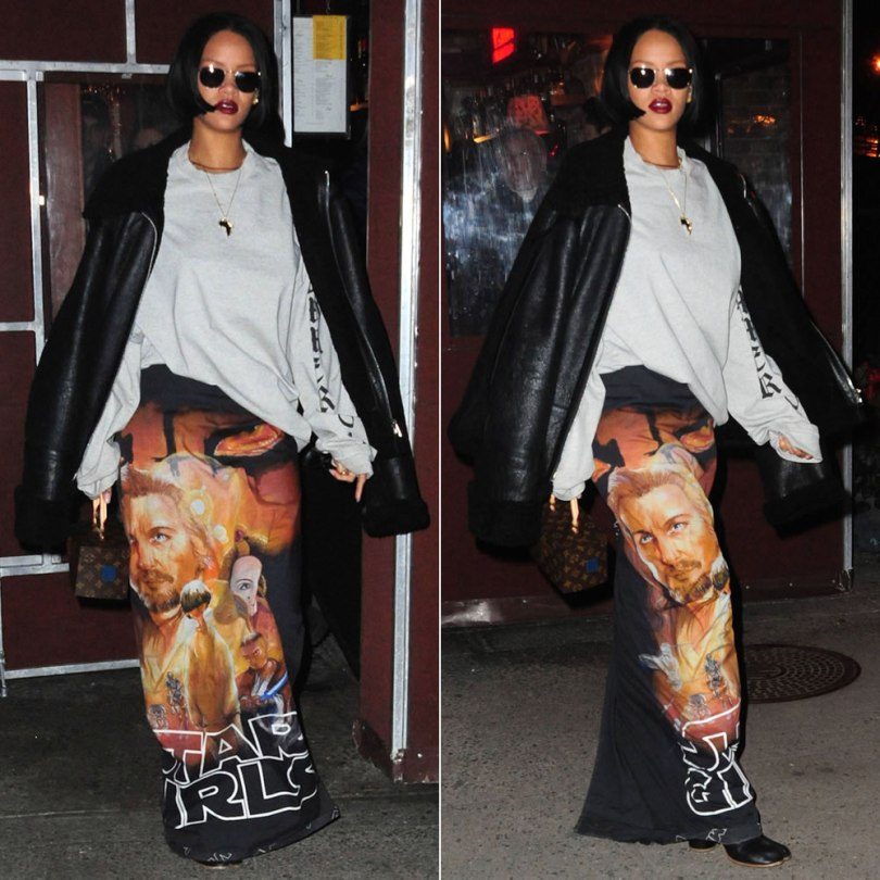 Rihanna Vetements Star Girls skirt Spring 2016, Vetements shearling leather jacket and longsleeve sweatshirt, Maison Margiela Tabi boots, Louis Vuitton by Frank Gehry twisted box bag