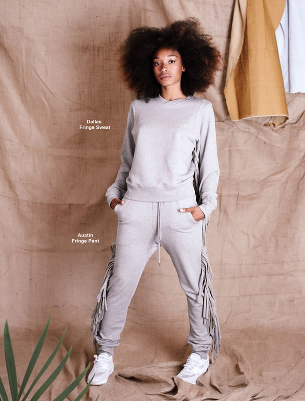 Silver Spoon Attire fringed Dallas sweatshirt and fringed Austin sweatpant as seen on Rihanna