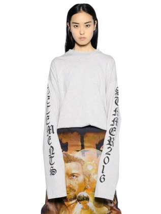Vetements grey Summer 2016 print sweatshirt as seen on Rihanna