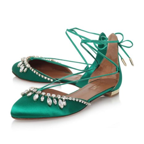 Aquazurra Alexa green jewelled flat as seen on Rihanna