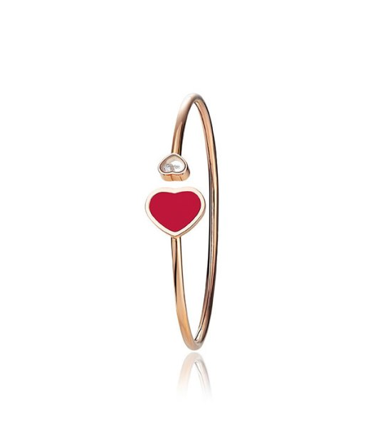 Chopard reconstituted coral, white diamond and 18k rose gold Happy Hearts bracelet as seen on Rihanna