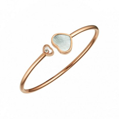 Chopard mother of pearl, white diamond and 18k rose gold Happy Hearts bracelet as seen on Rihanna