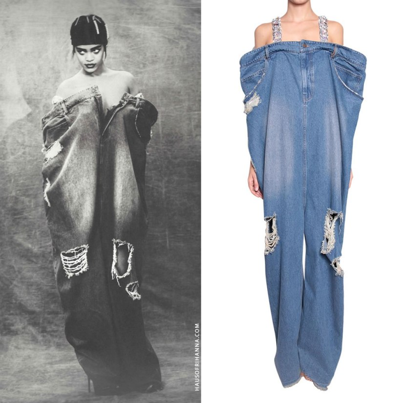 Rihanna Anti photo shoot Ashish oversized denim pants jumpsuit