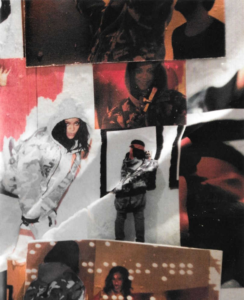 Rihanna Anti booklet vintage Raf Simons camo bomber jacket and grey hoodie, Helmut lang jeans
