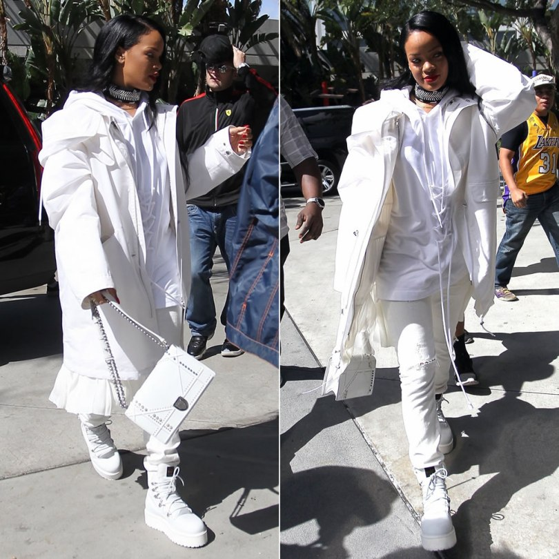 Rihanna Dior Spring 2016 white pleated parka jacket, Fenty x Puma Fall 2016 lace-up detail hoodie and white combat boots, Dior studded Diorama handbg, Fallon Monarch bandana choker, Citizens of Humanity Corey distressed natural boyfriend jeans