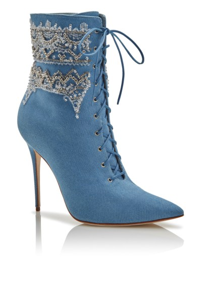 Rihanna x Manolo Blahnik denim Dancehall Cowgirl lace-up ankle boot