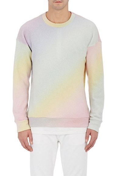 The Elder Statesmen pastel rainbow sweatshirt as seen on Rihanna