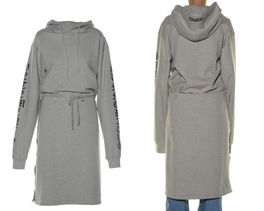 Vetements hooded wrap detail sweatshirt dress as seen on Rihanna