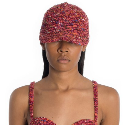 LaQuan Smith Aja tweed cap as seen on Rihanna