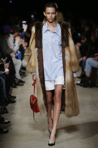 Miu Miu Fall 2016 fur coat, blue shirt, white shorts, embellished pumps as seen on Rihanna