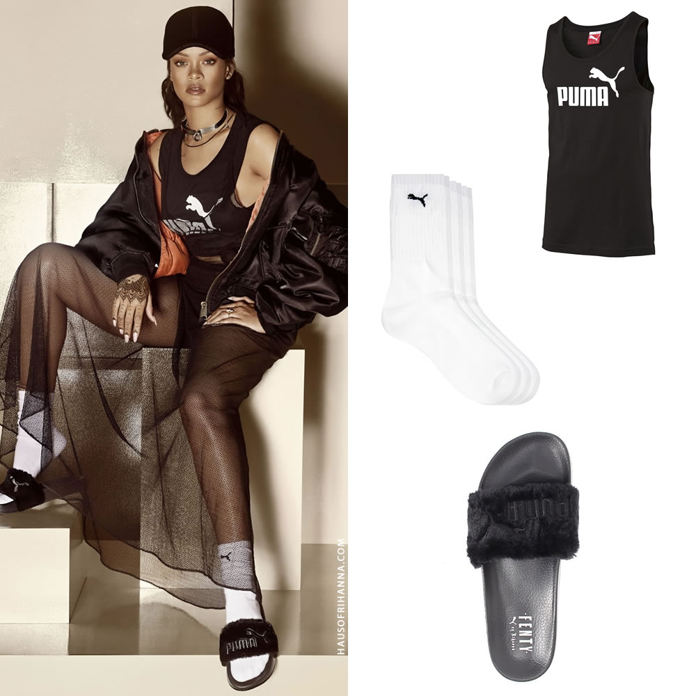 Black sandals rihanna - In This Photo Rih Rocked One Of Puma S No 1 Logo Tank Tops In Black Similar Pictured And Available Here For 15 The Brand S White Cat Logo Crew Socks
