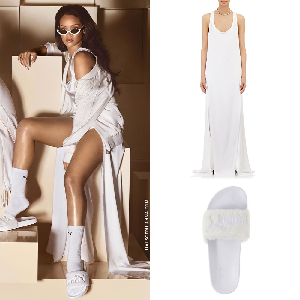 Finally she posed in the white Fur Slides while wearing a Juan Carlos  Obando Spring 2016 dress  Look 14 . The satin racerback dress features raw  edge trim ... 2d788b427bbb