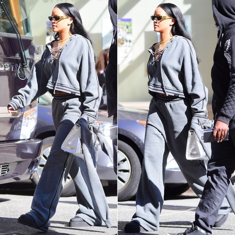 Rihanna Fenty x Puma Fall 2016 grey lace-up sweatshirt and sweatpants, Dior x Rihanna gold shield sunglasses, Diorever silver handbag