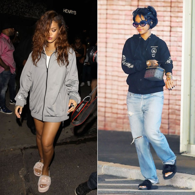 Rihanna wearing Puma fur slides