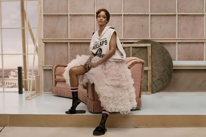 Rihanna x Stance Summer 2016 ad campaign Raf Simons kollaps hoodie, Maria Lucia Hohan Persephone tulle bridal dress, black lace socks, Puma by Rihanna fur slides