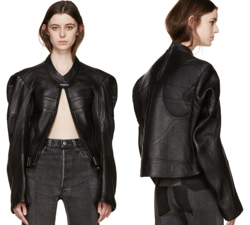 Vetements black leather moto jacket as seen on Rihanna