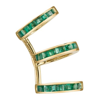 Borgioni yellow gold and emerald baguette ear cuff as seen on Rihanna