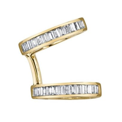 Borgioni white diamond baguette ear cuff as seen on Rihanna