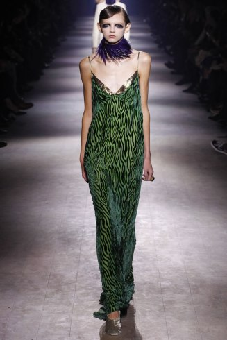 Dries Van Noten Fall 2016 green velvet and gold slip dress as seen on Rihanna