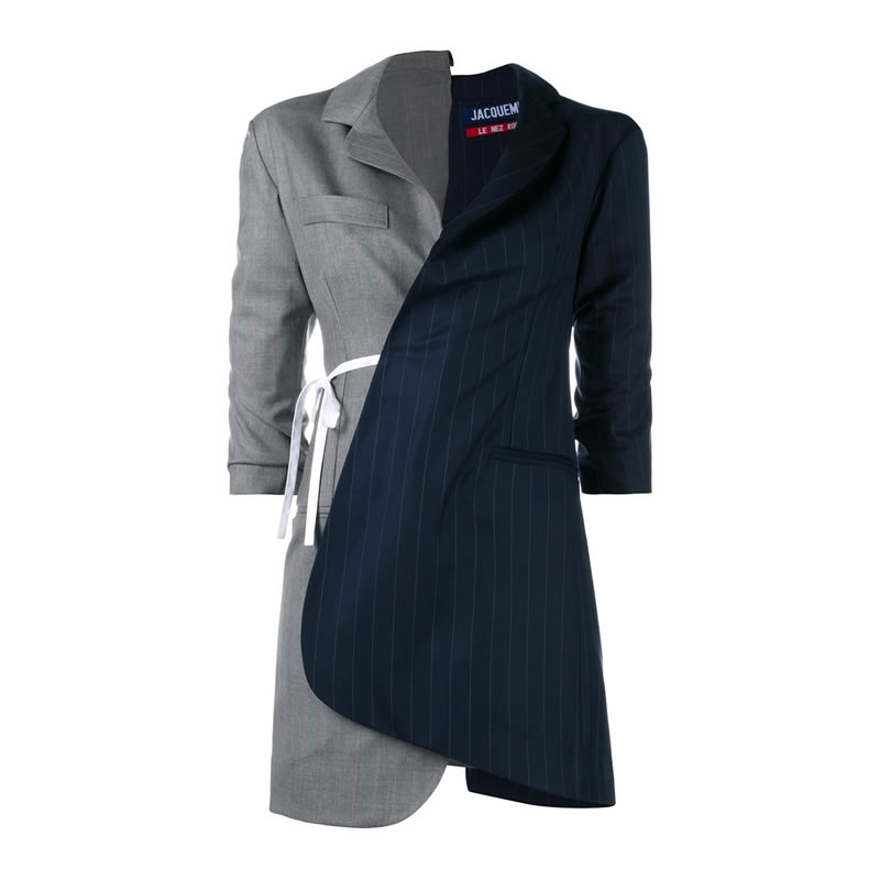 Jacquemus asymmetric grey and navy pinstripe wrap dress as seen on Rihanna