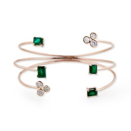Jacquie Aiche emerald baguette and diamond cluster prong cuff bracelet as seen on Rihanna