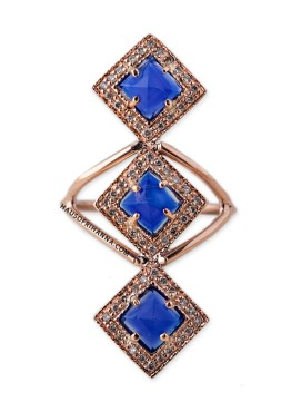 Jacquie Aiche lapis vertical kite ring as seen on Rihanna
