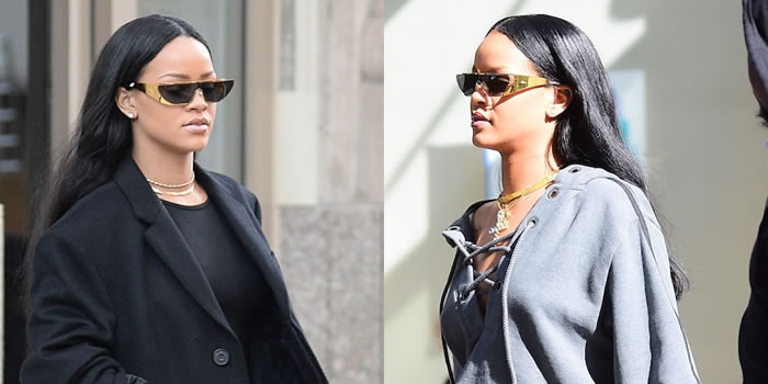 Dior by Rihanna metallic gold shield sunglasses