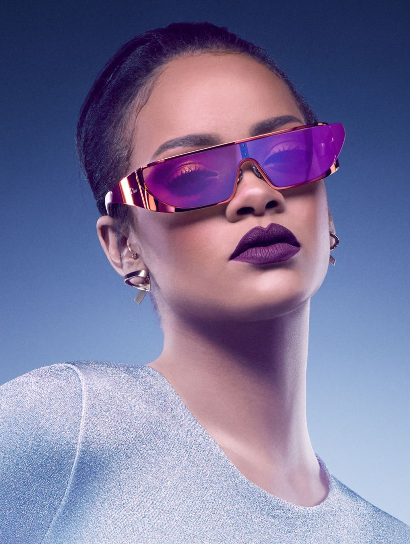 Rihanna x Dior shield sunglasses campaign