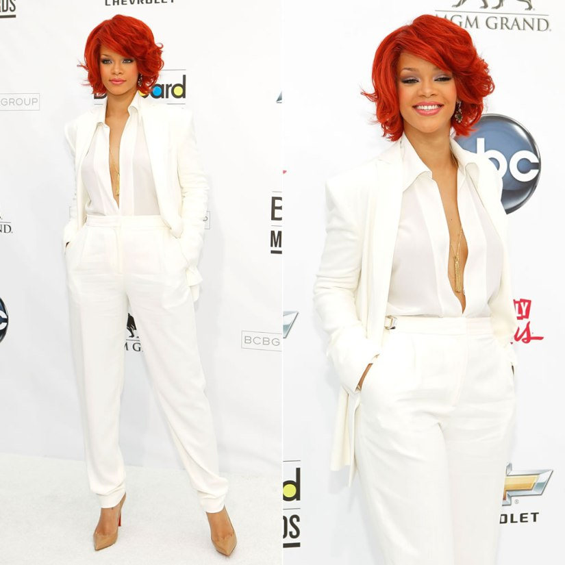 Rihanna 2011 Billboard Music Awards Max Azria white suit, Christian Louboutin Pigalle pumps, Solange Azagury-Partridge tassel necklace