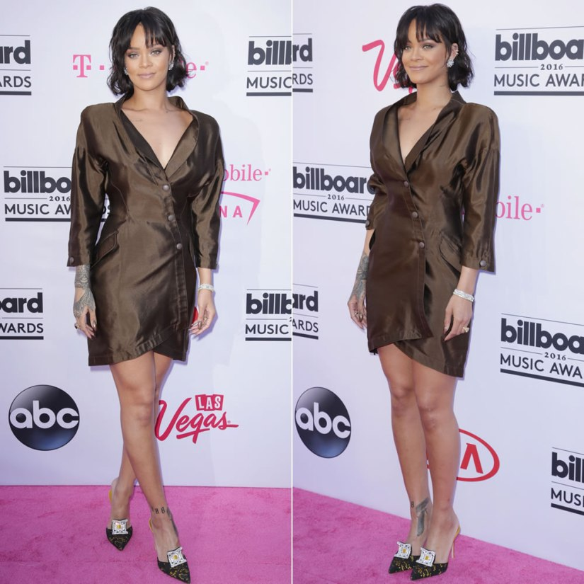 Rihanna 2016 Billboard Music Awards vintage Thierry Mugler brown silk jacket dress, Manolo Blahnik gold Borli mules, Borgioni diamond baguette ear cuff, Hearts On Fire Temptation and Lorelei diamond bracelets, Jacob and Co gold solitaire diamond ring