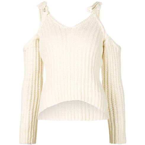 Rosie Assoulin off-the-shoulder sweater as seen on Rihanna