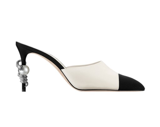 Chanel cap toe mule with pearl and snake-embellished heel as seen on Rihanna