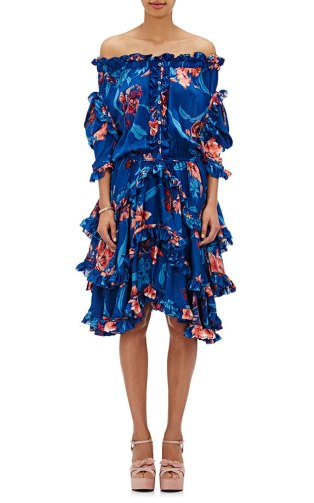 Faith Connexion floral off-the-shoulder ruffled dress as seen on Rihanna