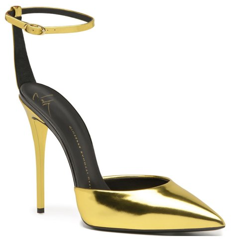 Giuseppe Zanotti ankle strap metallic pumps as seen on Rihanna