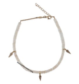 Jacquie Aiche white opal beaded anklet with dagger charm as seen on Rihanna