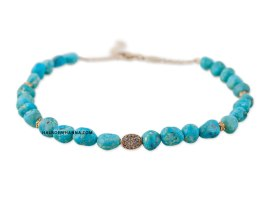 Jacquie Aiche pavé diamond disc turquoise bead anklet as seen on Rihanna