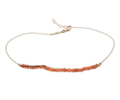 Jacquie Aiche peach moonstone bead anklet as seen on Rihanna