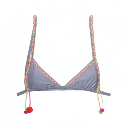 Lychee Swimwear Caribbean pom pom bikini top with braided trim as seen on Rihanna