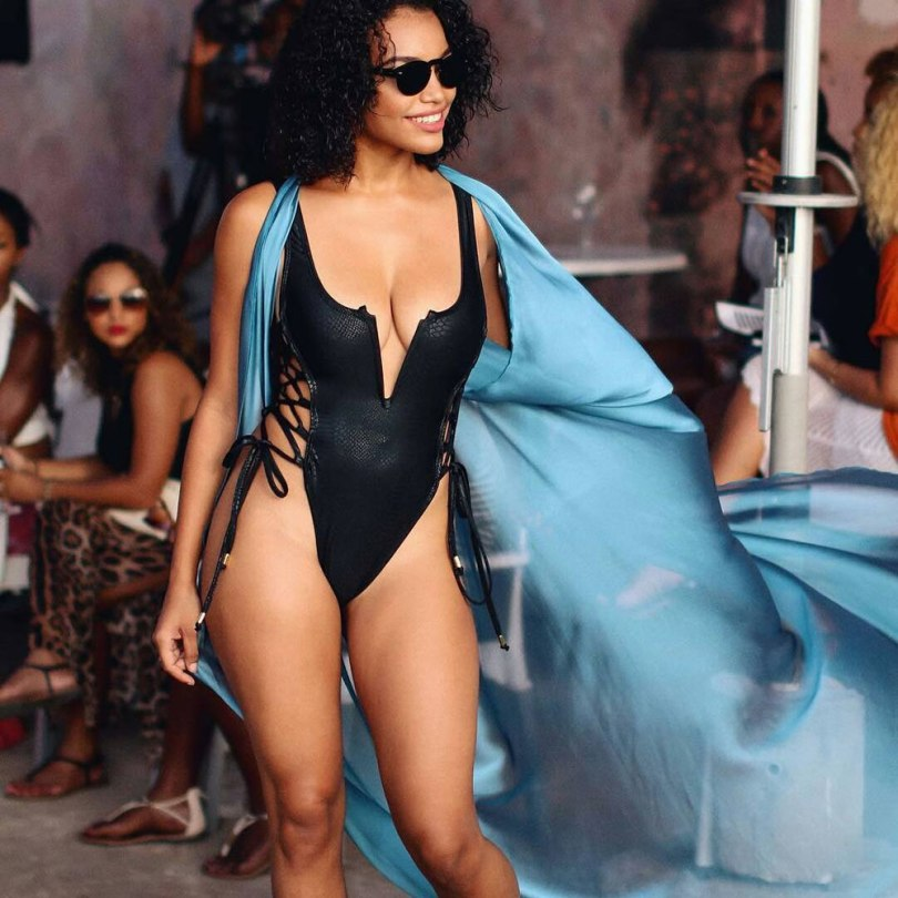 Suga Apple Swim low back v-neck lace-up one piece swimsuit as seen on Rihanna