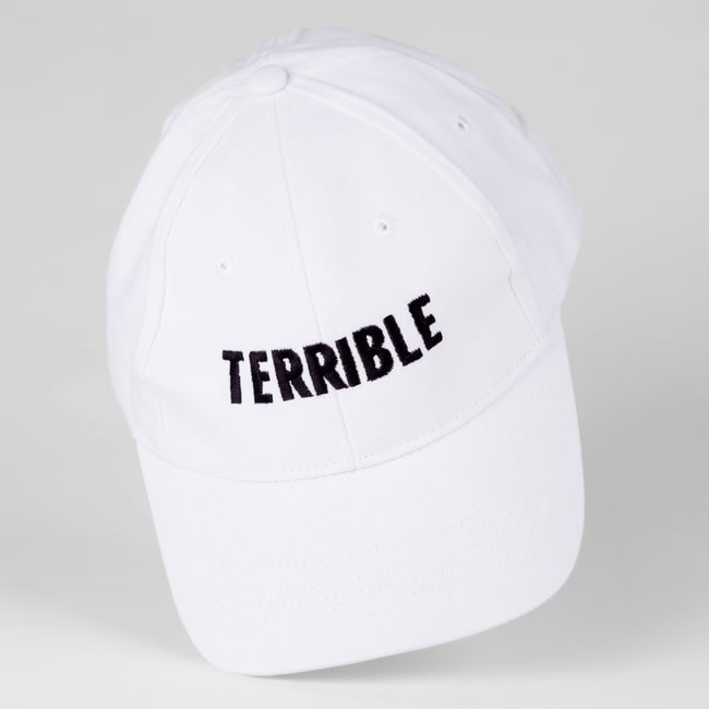 Terrible Records white logo hat as seen on Rihanna
