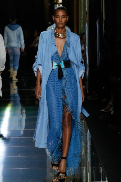 Balmain Spring 2017 menswear Look 12 - denim coat and fringe woven lattice dress as seen on Rihanna