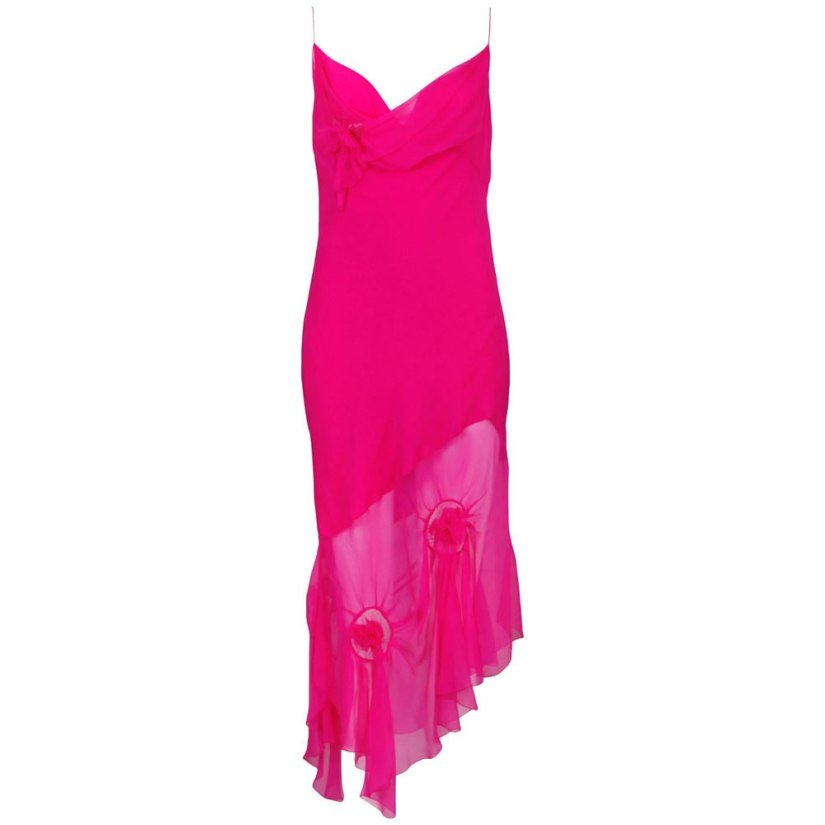 Christian Dior by John Galliano pink rosette chiffon slip dress as seen on Rihanna